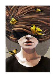"""Ruben Ireland Poster """"Girl with Finches""""_50x70cm"""