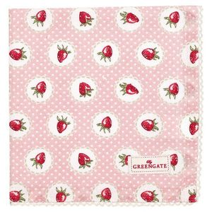 GreenGate Strawberry Serviett/ Brikke Rosa (478-COTNAPWLSTB1908)