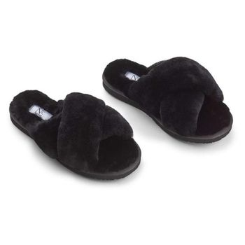 Natures Collection Tøfler Slippers-Cross Saueskinn Sort_Str.37 (154-NCF1049-black-37)