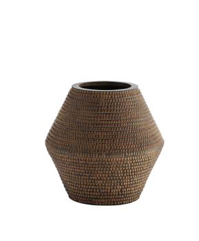 Madam Stoltz VaseStripedBrun H29cm (399-18H357)