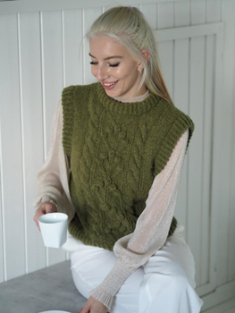 Knit Norway Dreamy-Slipover Oliven garn+oppskrift strXXL+XXXL