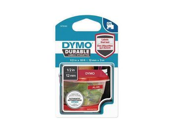 DYMO D1 Durable 12 mm x 3 M, White on Red (1978366)