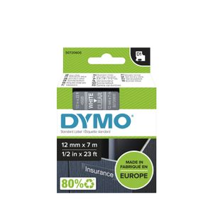 DYMO D1 Tape White on Clear 12mm x 7m  (45020               )
