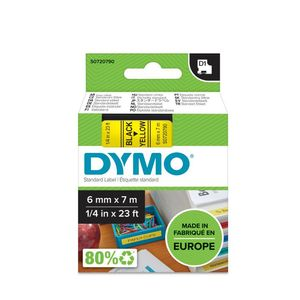 DYMO D1 6mm Black/ Yellow labels 43618 (S0720790)