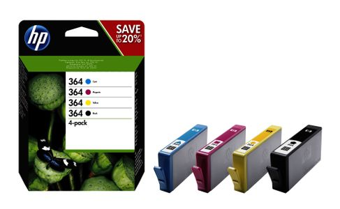 HP No364 black/ cyan/ magenta/ yellow ink cartridges,  4-pack, blis (N9J73AE#301)
