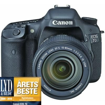 """EOS 7D SLR kamera med EF-S 15-85mm F/3.5-5.6 IS, 18MP, Full HD video, 3"""" Clear View II LCD"""