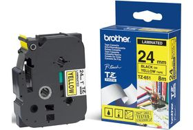 BROTHER TZe-651 P-Touch 24mm tape Sort på gul, standard laminert, 8 meter (gir ca 100 etiketter) (TZE651)