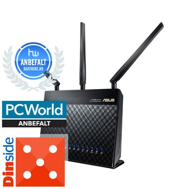 RT-AC68U Nordic Dual-band Wireless AC1900 Gigabit Router, 802.11ac, 1900 Mbps, med støtte for 3G- og 4G-modemer