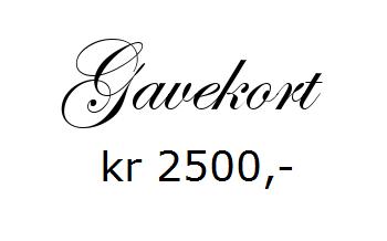Gavekort pålydende kr 2500,- <br>