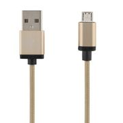 Deltaco PRIME Micro USB-kabel 1m, Gull, Stoffledning, Type A han - Type Micro B han