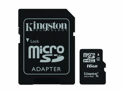 Kingston Flashminnekort (microSDHC til SD-adapter inkludert) - 16 GB - Class 4 - microSDHC (SDC4/16GB)