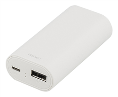 DELTACO PB-820 Power bank 4000mAh USB 5V 1A, hvit (PB-820)