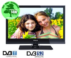 "19"" LED-TV 12V/230V HD-ready RiksTV- og satelittuner,  HDMI, VGA, USB PVR opptak, kun 14-19W"