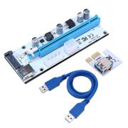 Mining PCIe Riser Card 1x->16x USB 3.0 Data Cable SATA to 4Pin IDE Molex Power Supply for Miner Machine 008S