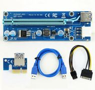 Mining PCIe Riser Card 1x->16x USB 3.0 Data Cable 6 Pin SATA Power Supply for Miner Machine 009S