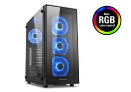Sharkoon TG5 RGB ATX Case Glass panel, 4x 120 mm RGB LED fans