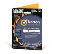 SYMANTEC Norton Security Deluxe Gamer-Edition + Wi-Fi Privacy (VPN), Antivirus Software 2018, Deluxe 5 enheter, VPN 1 enhet, 1 bruker, 12 mnd