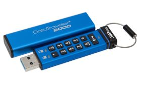 Kingston DataTraveler 2000 - USB-flashstasjon - kryptert - 32 GB - USB 3.1, demobrukt (DT2000/32GB-Demo)