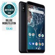 "Xiaomi Mi A2 Black 64GB 5.99"" Full-HD+, 20MP+12MP,  4GB, 64GB, Snapdragon 660, Dual SIM, USB-C, Android 8.1 (Oreo) Android One, Uten abonnement"