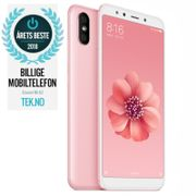 "Xiaomi Mi A2 RoseGold 64GB 5.99"" Full-HD+, 20MP+12MP,  4GB, 64GB, Snapdragon 660, Dual SIM, USB-C, Android 8.1 (Oreo) Android One, Uten abonnement"