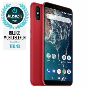 "Xiaomi Mi A2 Red 64GB 5.99"" Full-HD+, 20MP+12MP,  4GB, 64GB, Snapdragon 660, Dual SIM, USB-C, Android 8.1 (Oreo) Android One, Uten abonnement (REDMI-MI-A2-64GB-RED)"