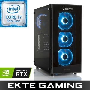 Noox i627CR Gaming PC Intel Core i7-9700K, 16GB, 256GB PCIe SSD, 2TB harddisk, GeForce RTX 2070 8GB, 600W, Uten operativsystem (MULTICOM-i627C-CFLRFB)