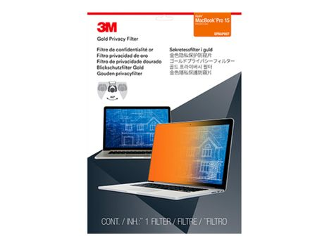 """3M personvernfilter i gull for MacBook Pro (2016-2021) 15.4"""" Laptops 16:10 with COMPLY notebookpersonvernsfilter (GFNAP007)"""