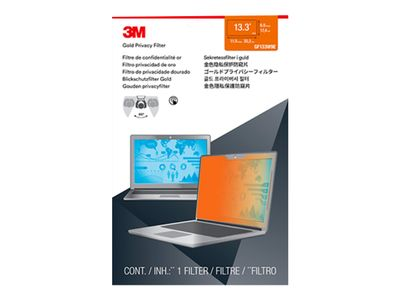 "3M personvernfilter i gull for Full Screen 13.3"" Widescreen Laptop with COMPLY Attachment System - Notebookpersonvernsfilter - 13.3"" - gull (GF133W9E)"