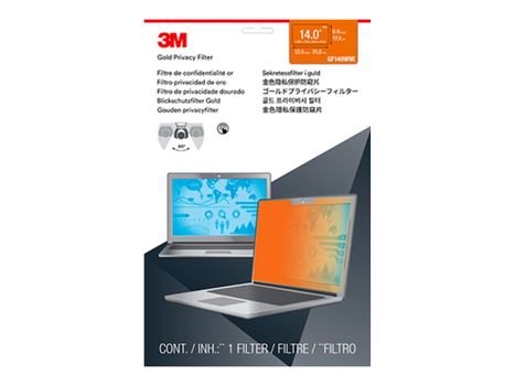 """3M personvernfilter i gull for Full Screen 14"""" Widescreen Laptop with COMPLY Attachment System notebookpersonvernsfilter (GF140W9E)"""