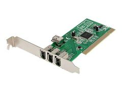StarTech 4 port PCI 1394a FireWire Adapter Card - 3 External 1 Internal - FireWire-adapter - PCI - Firewire - 3 porter