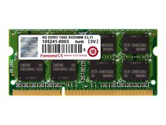 Transcend DDR3 - 4 GB - SO DIMM 204-pin - 1600 MHz / PC3-12800 - CL11 - 1.5 V - ikke-bufret - ikke-ECC - for Dell OptiPlex 90XX; HP ENVY dv6, dv7; Pavilion dv4, g4; Lenovo ThinkCentre M93