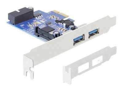 DELOCK PCI Express Card > 2 x external USB 3.0 + 1 x internal 19 pin USB 3.0 - USB-adapter - PCIe 2.0 lav profil - USB, USB 2.0, USB 3.0 - 3 porter (89315)