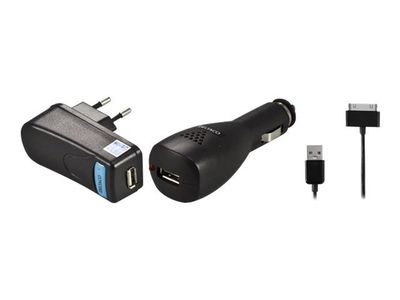 Deltaco IPD-KIT2 - Batterilader + AC-strømadapter + bilstrømadapter - 2.1 A (USB) - svart - for Apple iPad/ iPhone/ iPod (IPD-KIT2)
