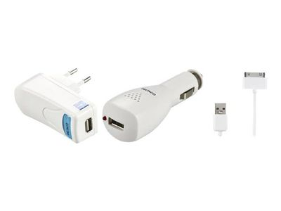 Deltaco IPNE-KIT3 - Batterilader + AC-strømadapter + bilstrømadapter - 1 A (USB) - hvit - for Apple iPad/ iPhone/ iPod (IPNE-KIT3)