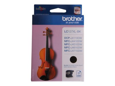 Brother LC127XLBK - Super High Yield - svart - original - blekkpatron - for Brother DCP-J4110DW,  MFC-J4410DW,  MFC-J4510DW,  MFC-J4610DW,  MFC-J4710DW (LC127XLBK)