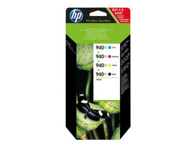 HP 940XL - 4-pack - Høy ytelse - svart, gul, cyan, magenta - original - blekkpatron - for Officejet Pro 8000, 8500, 8500 A909a, 8500A, 8500A A910a (C2N93AE)