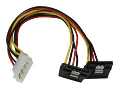 StarTech 12in LP4 to 2x Right Angle Latching SATA Power Y Cable Splitter - 4 Pin LP4 to Dual 90 Degree Latching SATA Y Splitter - strømadapter - 4-pin intern strøm til SATA-strøm - 30 cm