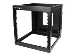 StarTech 12U Hinged Open Frame Wall Mount Server Rack - 4 Post 22 in. Depth Network Equipment Rack Cabinet - 140 lbs capacity (RK1219WALLOH) rack - 12U