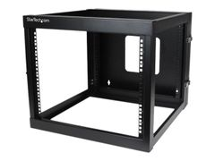 "StarTech ""8U Hinged Open Frame Wall Mount Network Rack - 4-Post 22"""" Depth Swing Out Computer Equipment Rack - 140lbs capacity (RK819WALLOH)"" rack - 8U"