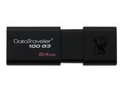 Kingston DataTraveler 100 G3 - USB-flashstasjon - 64 GB - USB 3.0 - svart (DT100G3/64GB)