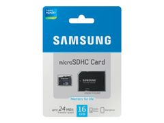Samsung Standard MB-MSAGB - Flashminnekort (microSDHC til SD-adapter inkludert) - 16 GB - Class 6 - microSDHC - for Galaxy Mega, S4, S4 Mini, Tab 3