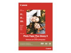 Canon Photo Paper Plus Glossy II PP-201 - Blank - 130 x 180 mm - 260 g/m² - 20 ark fotopapir - for PIXMA iP2700, iX7000, MG2555, MP210, MP520, MP610, MP970, MX300, MX310, MX700, MX850
