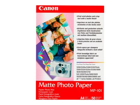 Canon MP-101 - Matt - A4 (210 x 297 mm) 50 ark fotopapir - for PIXMA iP90, iX7000, MG8250, MP490, MP510, MP550, MP560, MP960, MX330, PRO-1, PRO-10, 100