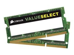 Corsair Value Select - DDR3L - 8 GB: 2 x 4 GB - SO DIMM 204-pin - 1600 MHz / PC3-12800 - CL11 - 1.35 / 1.5 V - ikke-bufret - ikke-ECC