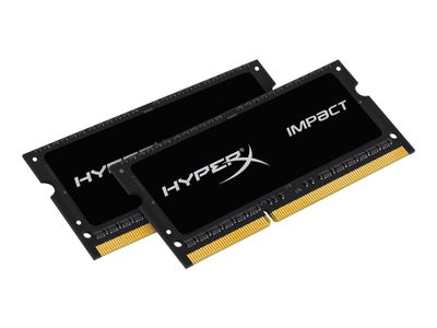 Kingston HyperX Impact Black Series - DDR3L - 8 GB: 2 x 4 GB - SO DIMM 204-pin - ikke-bufret (HX321LS11IB2K2/8)