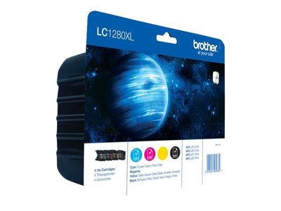 Brother LC1280XL Value Pack - 4-pack - svart, gul, cyan, magenta - original - blekkpatron - for Brother MFC-J5910DW,  MFC-J6510DW,  MFC-J6710DW,  MFC-J6910DW (LC1280XLVALBPDR)