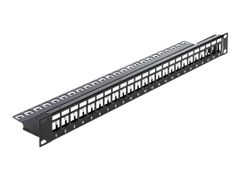 DELOCK Keystone Patch Panel - Koblingspanel - svart - 1U - 19