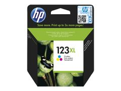 HP 123XL - Trefarget - original - blister - blekkpatron - for Deskjet 2130, 26XX, 3630, 37XX; Envy 4523, 50XX; Officejet 3835, 4655, 52XX