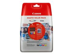 Canon CLI-551 C/M/Y/BK Photo Value Pack - 4-pack - 7 ml - svart, gul, cyan, magenta - original - blister med sikkerhet - blekkbeholder / papirsett - for PIXMA iP8750, iX6850, MG5550, MG5650, MG5655, MG6450,