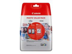 Canon PG-545 XL/ CL-546XL Photo Value Pack - 2-pack - Høy ytelse - svart, farge (cyan, magenta, gul) - original - 100 x 150 mm 50 ark blister - blekkpatron/ papirsett - for PIXMA MG2550, MG2555, MG3050, MG305